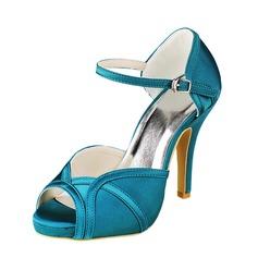 De mujer Satén Tacón stilettos Encaje Sandalias