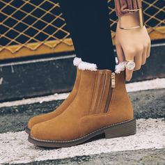 Veloursleder Niederiger Absatz Stiefelette Schneestiefel mit Reißverschluss Schuhe