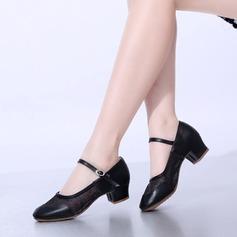 Vrouwen Kunstleer Kant Mesh Hakken Pumps Character Shoes Dansschoenen