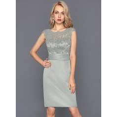 Sheath/Column Scoop Neck Knee-Length Satin Cocktail Dress With Ruffle (016124576)
