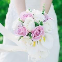 Sencillas y elegantes Redondo Seda artificiales Ramos de novia