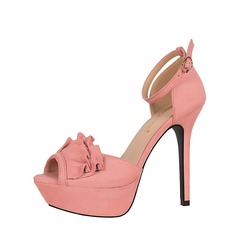 Women's Suede Stiletto Heel Sandals Pumps Platform Peep Toe shoes