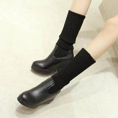 Kvinder PU Kile Hæl Kiler Knæhøje Støvler med Elastisk Bånd sko