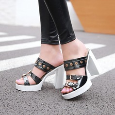 Women's Patent Leather Chunky Heel Sandals Pumps With Buckle Others shoes
