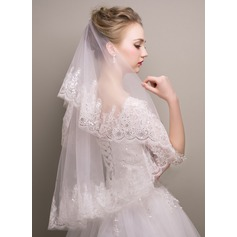 One-tier Sequin Trim Edge Waltz Bridal Veils With Sequin