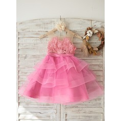 Cupcake Fuchsia Lace Tulle Wedding Flower Girl Knee-length Dress with Horsehair Tulle Hem