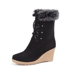 Vrouwen Suede Wedge Heel Pumps Plateau Wedges Laarzen Half-Kuit Laarzen met Vastrijgen schoenen