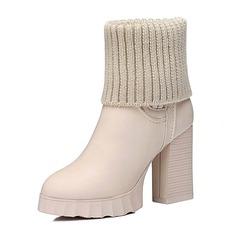 Frauen Kunstleder Niederiger Absatz Stiefel Geschlossene Zehe Absatzschuhe