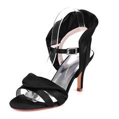 Kvinner silke som sateng Stiletto Hæl Pumps Sandaler med Spenne