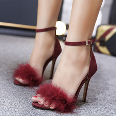 Kids' Microfiber Leather Stiletto Heel Peep Toe Platform Sandals With Feather (047225184)