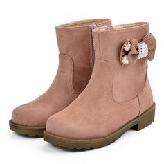 Pigens Microfiber Læder Flad Hæl Round Toe Mid Læggen Støvler Støvler med Bowknot Imiteret Pearl Lynlås