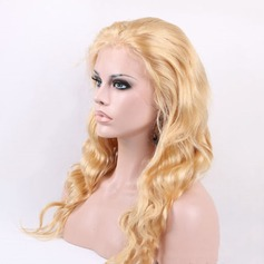 4A Non remy Wavy Human Hair Lace Front Wigs 280g