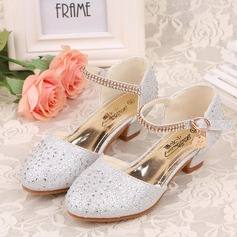 Girl's Closed Toe Leatherette Low Heel Flower Girl Shoes With Rhinestone