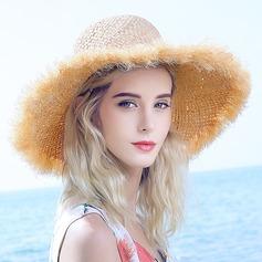 женские прекрасный/Специальный Плетеная соломы соломенная шляпа/Пляжные / солнцезащитные шлемы