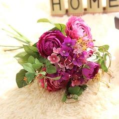 Simples e elegante Redondo Cetim Buquês de noiva -