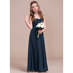 Empire One-Shoulder Floor-Length Chiffon Junior Bridesmaid Dress With Ruffle (009081152)