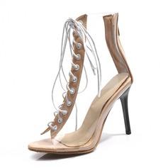 Femmes Similicuir PVC Talon stiletto Sandales Escarpins À bout ouvert avec Dentelle chaussures