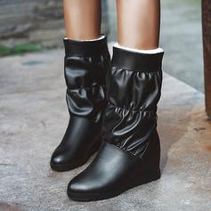 Frauen Kunstleder Niederiger Absatz Stiefel-Wadenlang Schneestiefel mit Rüschen Schuhe