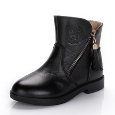 Girl's Real Leather Flat Heel Closed Toe Ankle Boots Boots With Tassel Zipper