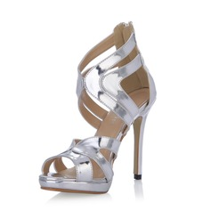 Patent Leather Stiletto Heel Sandals Pumps With Buckle shoes (087054106)