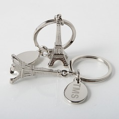 Personalized Eiffel Tower Design Zinc Alloy Keychains (Set of 4)