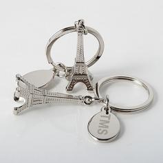 Personalizado Torre de Eiffel Projeto Liga de zinco Chaveiros (Conjunto de 4)