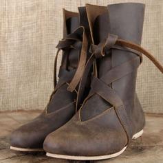 Kvinner Lær Flat Hæl Flate sko Støvler med Blondér sko