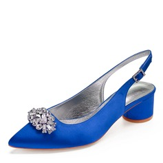 Women's Silk Like Satin Chunky Heel Closed Toe Sandals Slingbacks With Rhinestone