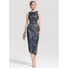 Sheath/Column Scoop Neck Tea-Length Lace Cocktail Dress With Split Front