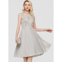 A-Line Scoop Neck Knee-Length Chiffon Cocktail Dress With Pleated (016197091)