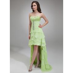 Vestidos princesa/ Formato A Coração Assimétrico De chiffon Vestido de Férias com Pregueado Bordado