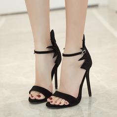 Kvinnor Mocka Stilettklack Sandaler Pumps Peep Toe med Strass Spänne skor