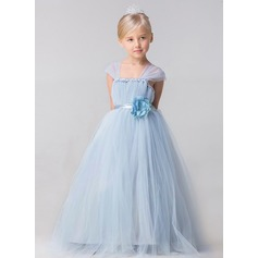 Ball Gown Ankle-length Flower Girl Dress - Tulle Sleeveless Straps With Flower(s)