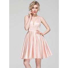 Vestidos princesa/ Formato A Decote V Coquetel Cetim Vestido de cocktail