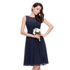 A-Line/Princess Scoop Neck Knee-Length Chiffon Bridesmaid Dress With Ruffle (007067270)