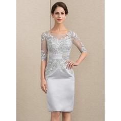 Sheath/Column Scoop Neck Knee-Length Satin Lace Cocktail Dress