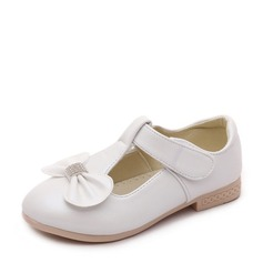 A menina de imitação de couro Heel plana Toe rodada Sem salto com Bowknot Velcro