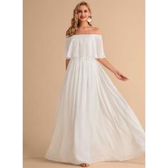 Corte A Fuera del hombro Hasta el suelo Gasa Vestido de novia con Apertura frontal
