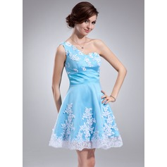 A-Line/Princess One-Shoulder Short/Mini Satin Homecoming Dress With Ruffle Beading Appliques Lace Sequins