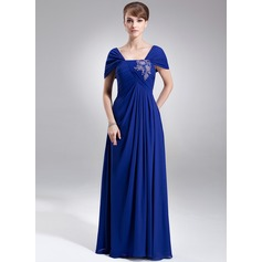 A-Line/Princess Off-the-Shoulder Floor-Length Chiffon Mother of the Bride Dress With Ruffle Lace Beading Sequins