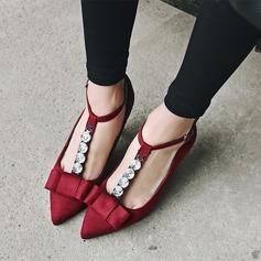 Kvinner Semsket Stiletto Hæl Lukket Tå Mary Jane med Rhinestone Bowknot sko