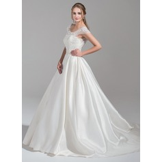 De baile Decote redondo Cauda longa Cetim Tule Vestido de noiva com Pregueado Bordado Apliques de Renda lantejoulas
