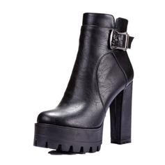 De mujer Cuero Tacón ancho Salón Plataforma Cerrados Botas Botas al tobillo con Hebilla zapatos