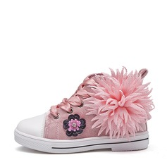 Girl's Round Toe Canvas Flat Heel Flats Sneakers & Athletic Flower Girl Shoes With Sequin Flower Lace-up