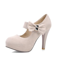 Women's Suede Stiletto Heel Pumps Platform Closed Toe With Bowknot shoes (085128297)