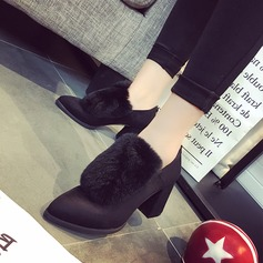 Frauen Veloursleder Stämmiger Absatz Absatzschuhe Stiefel Stiefelette mit Reißverschluss Pelz Schuhe