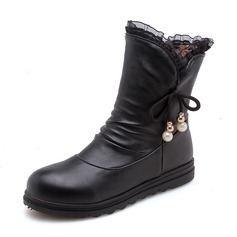 Women's Leatherette Flat Heel Closed Toe Boots Mid-Calf Boots With Imitation Pearl Lace-up shoes