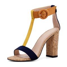 Mulheres Camurça Salto robusto Sandálias Bombas Peep toe com Fivela sapatos
