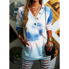 Tie Dye V-Neck Long Sleeves Sweatshirt (1001254593)