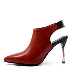 Donna Similpelle Tacco a spillo Sandalo Stiletto Punta chiusa con Cava-out Tacchi ingioiellati Con risvolto scarpe